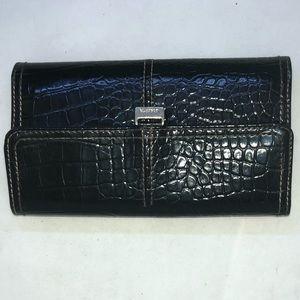 Liz Claiborne Black Purple Croc Wallet